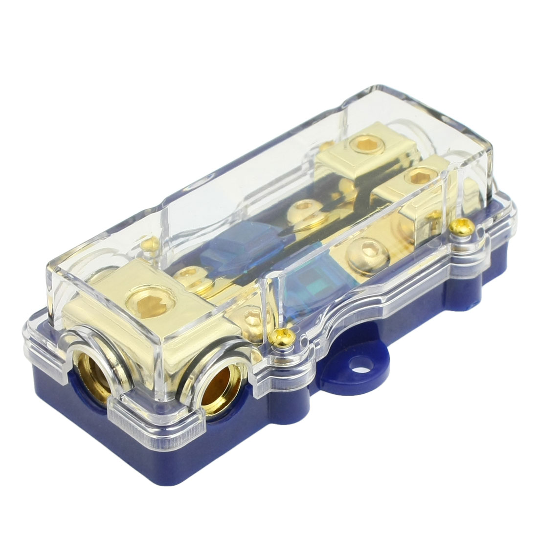 Car Audio Speaker Protection 60A Fuse Holder Gold Tone Blue
