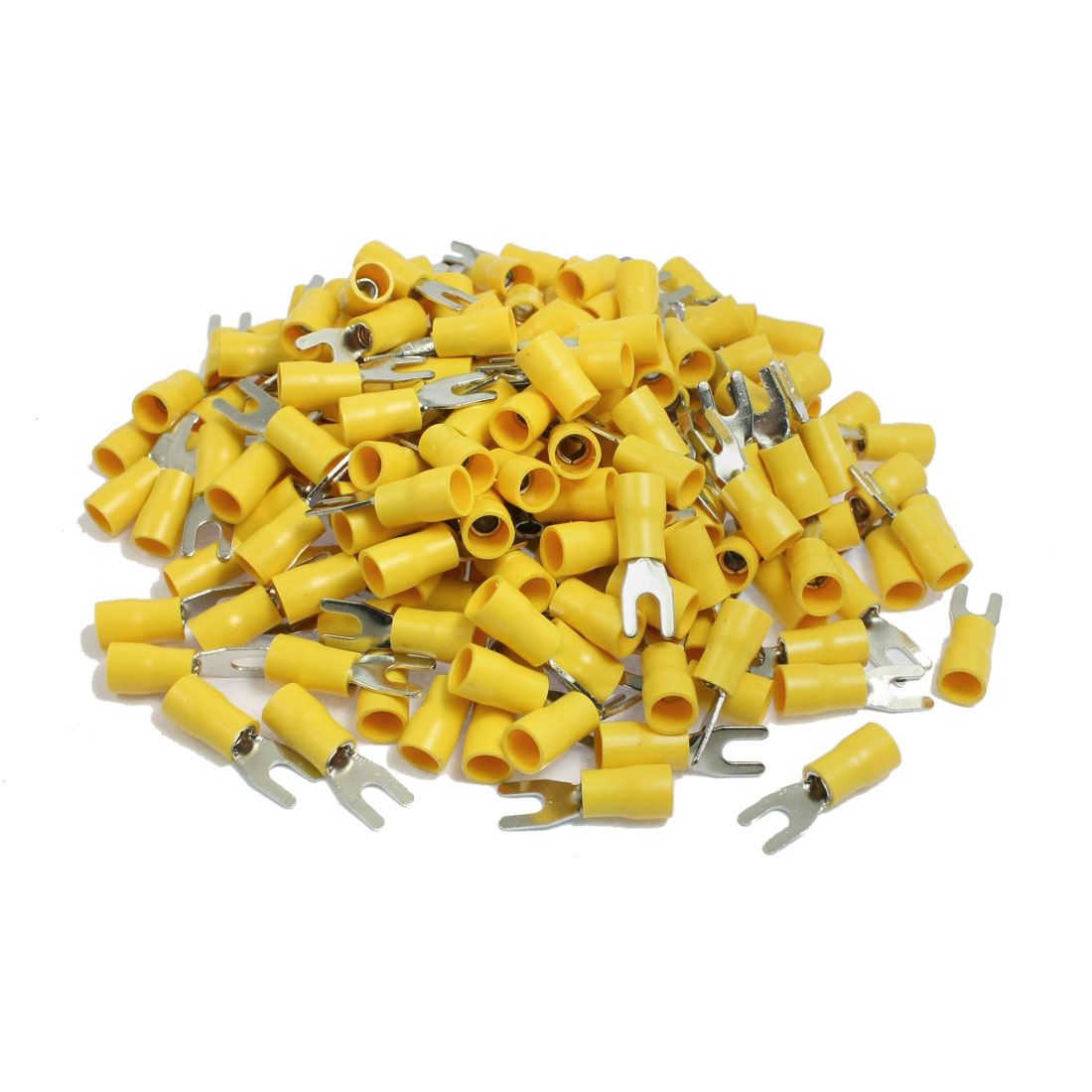 200 x Yellow PVC Insulating Sleeve Furcate Terminals Cable Lugs SV5.5-3.5