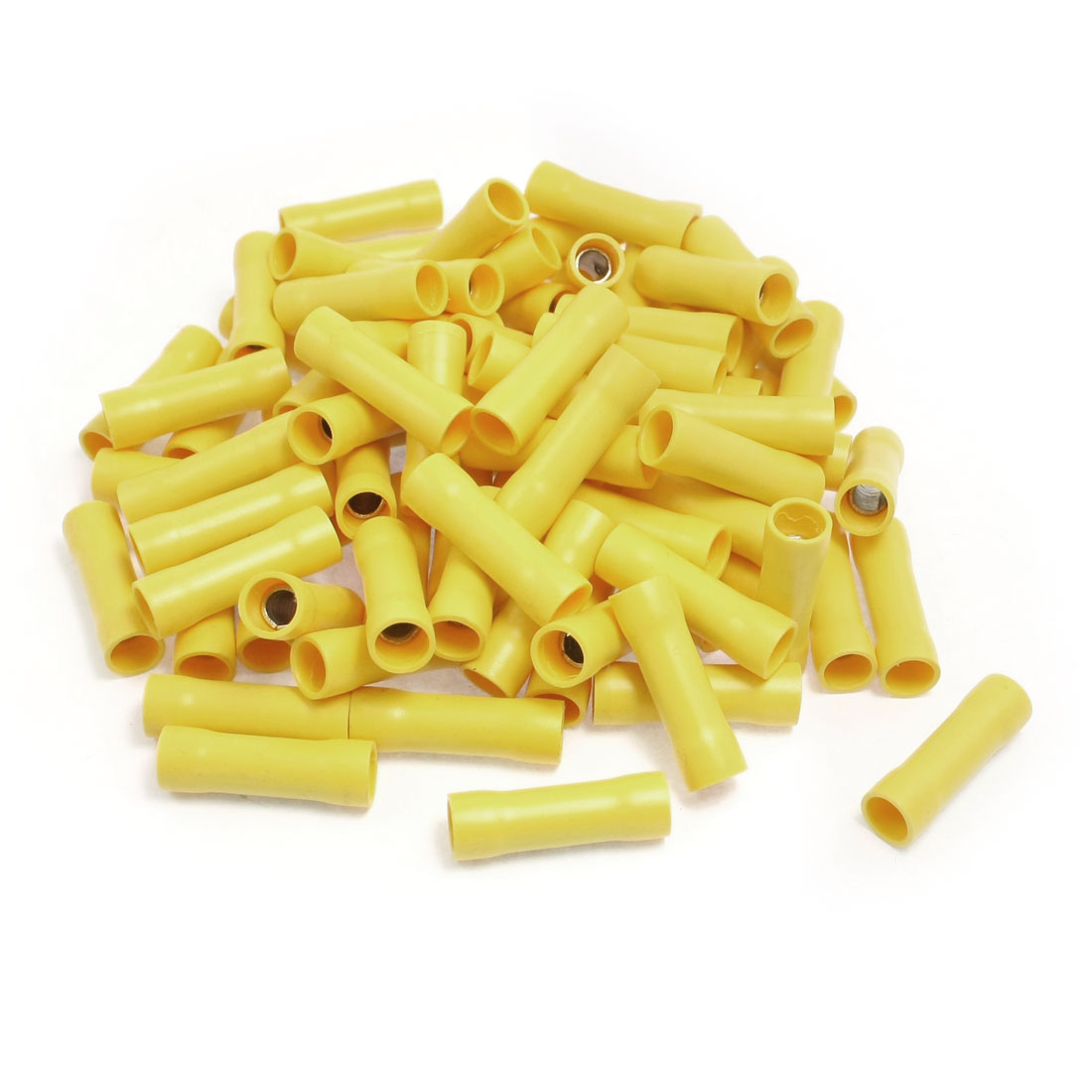 100 Pcs FRD2-195 Yellow PVC Fully Insulated Sleeve Crimp Terminals for AWG 16-14