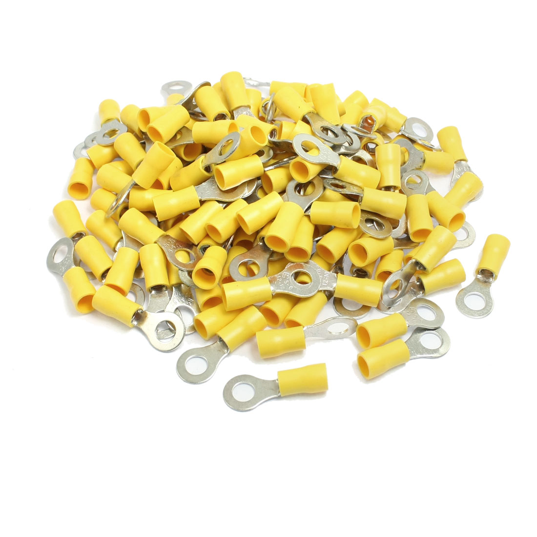 200 Pcs RV5.5-6 AWG 12-10 Yellow Sleeve Pre Insulated Ring Terminals Connectors