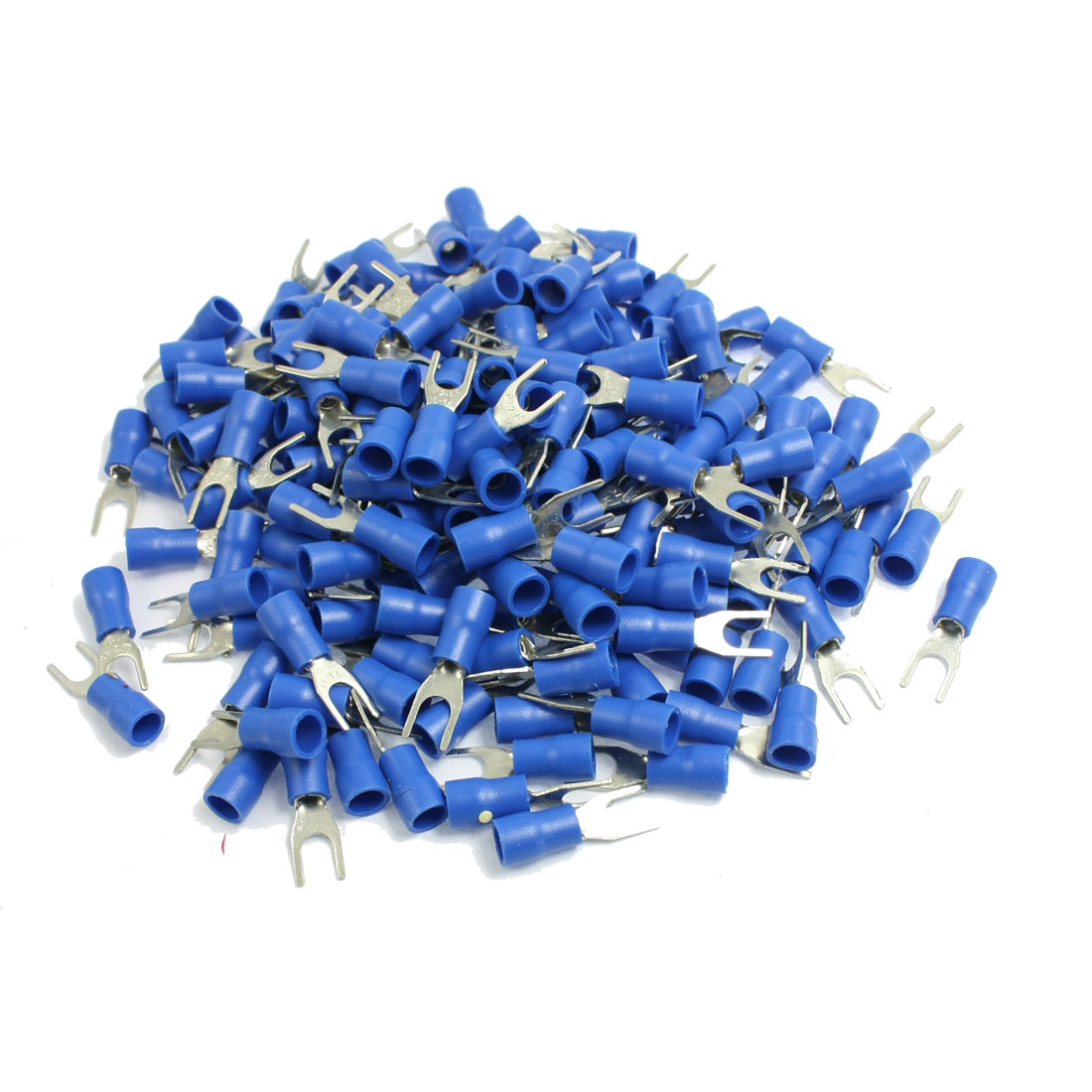 200 Pcs AWG 16-14 Blue Sleeve Pre Insulated Fork Terminals Connectors