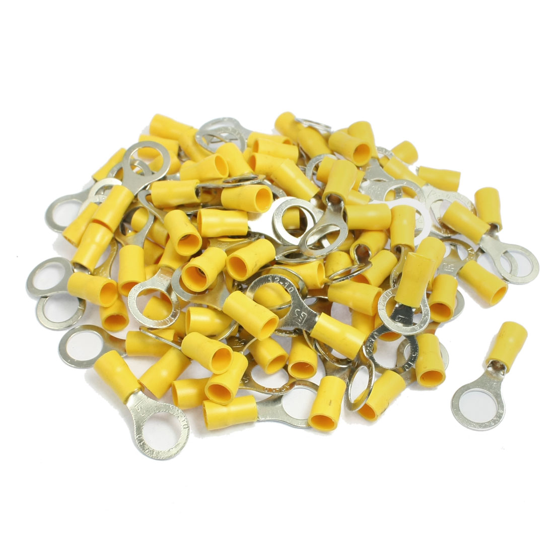 RV5.5-10 Ring Tongue Type Pre Insulated Terminals Yellow 200pcs for AWG 12-10