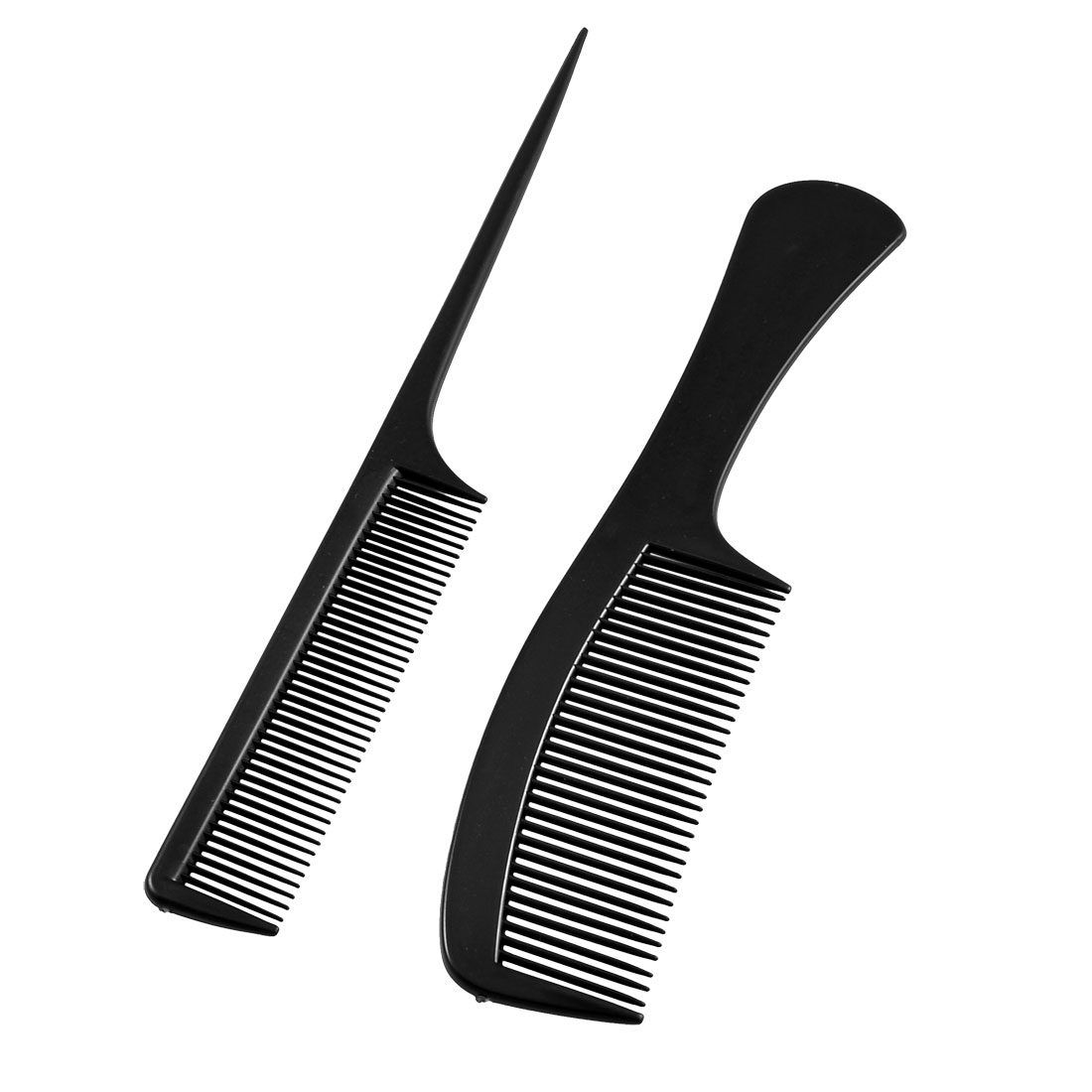 Hairdressing Black Plastic Toothed Anti Static Hair Comb 2 Pcs