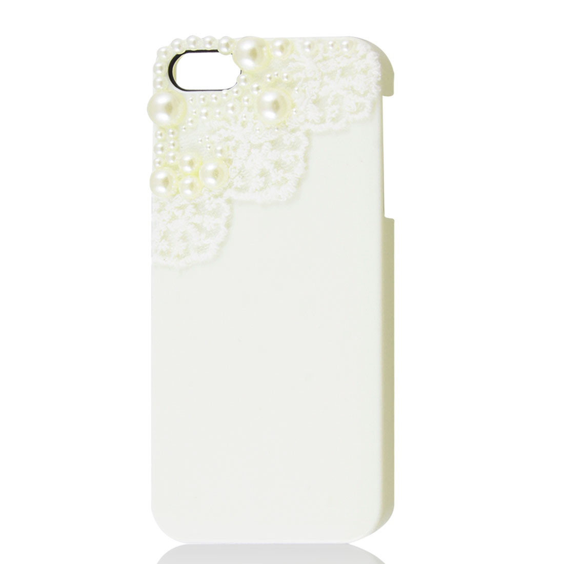 White Lace Imitation Pearl Beads Hard Back Case Cover for Apple iPhone 5 5G