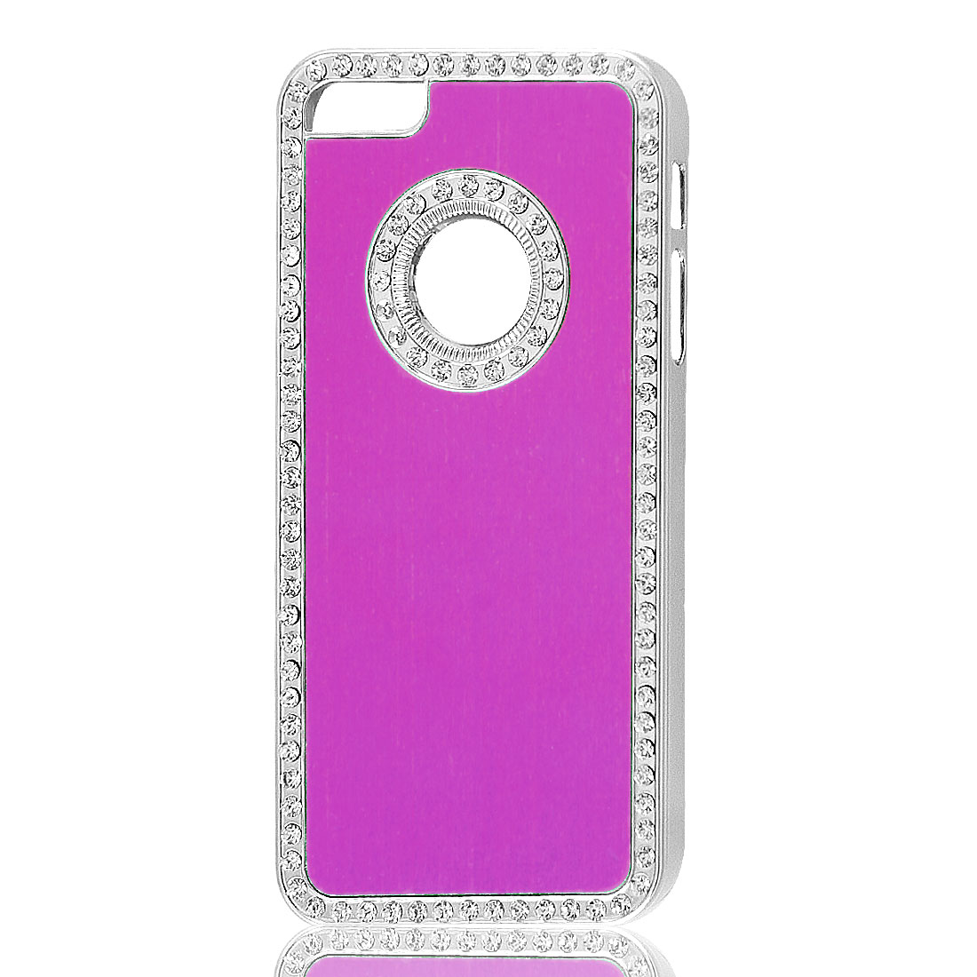Bling Rhinestone Fuchsia Silver Tone Hard Back Case Cover for Apple iPhone 5 5G