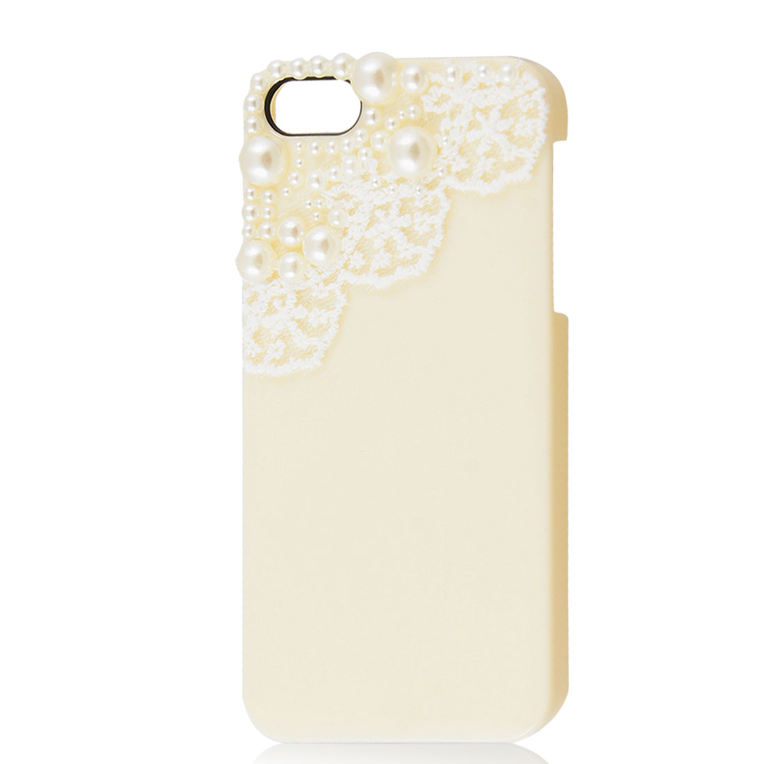 White Lace Beads Design Beige Hard Back Case Cover for Apple iPhone 5 5G