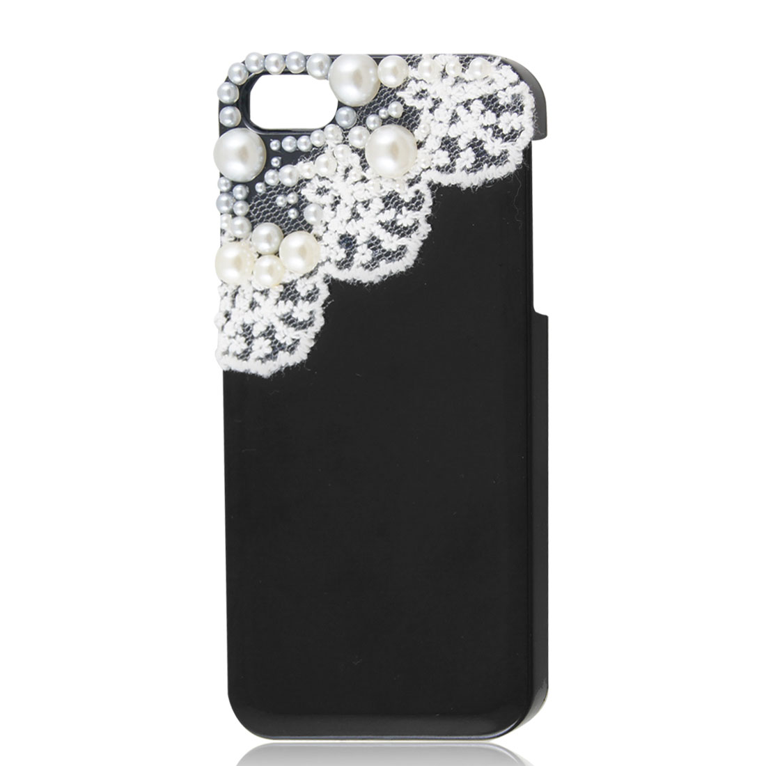 White Lace Beads Design Black Hard Back Case Cover for Apple iPhone 5 5G