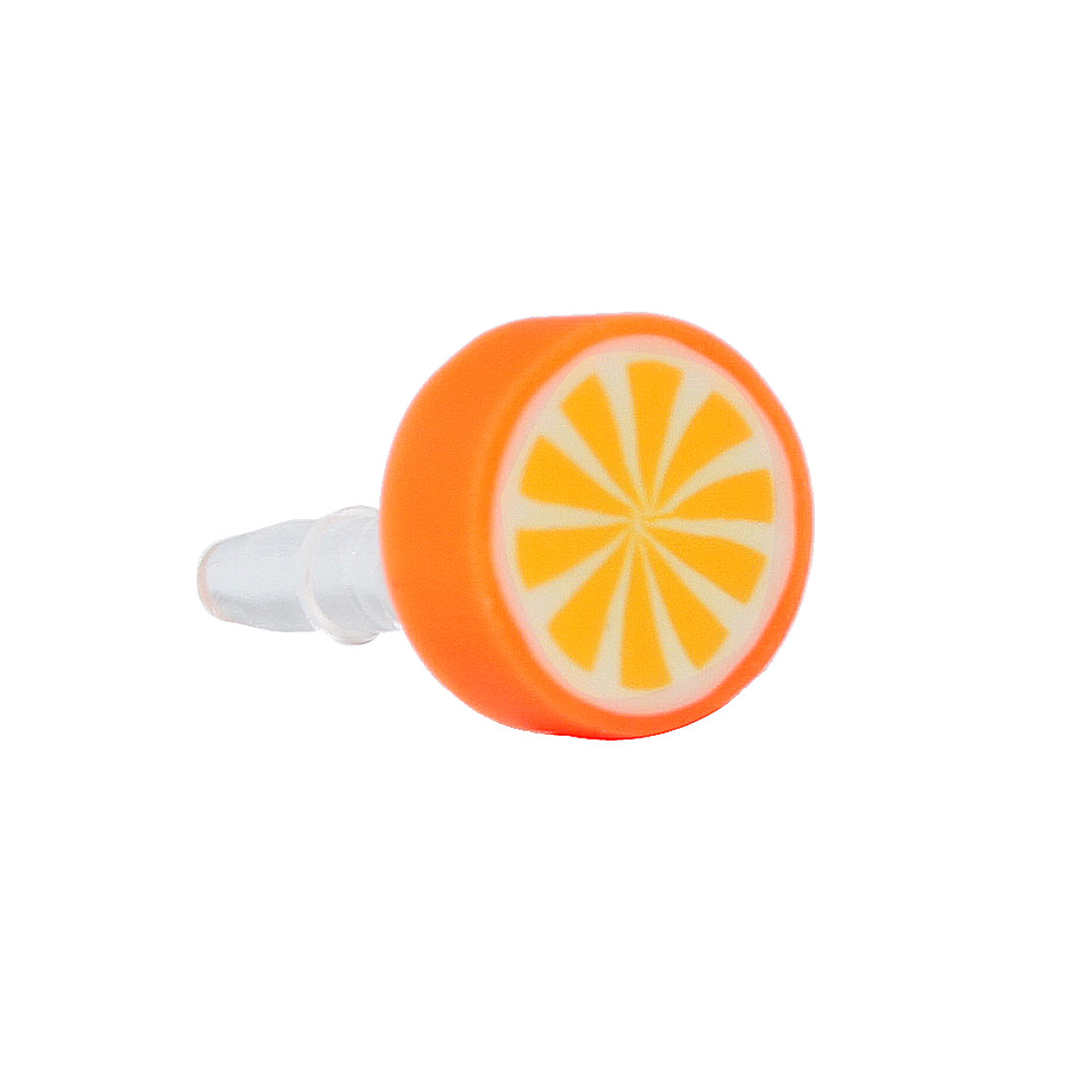 Round Orange Design 3.5mm Earphone Ear Cap Anti Dust for Cell Phone Smartphone
