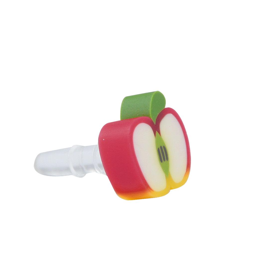 White Fruit Apple 3.5mm Earphone Ear Cap Dust Plug Jack for Cell Phone Smartphone