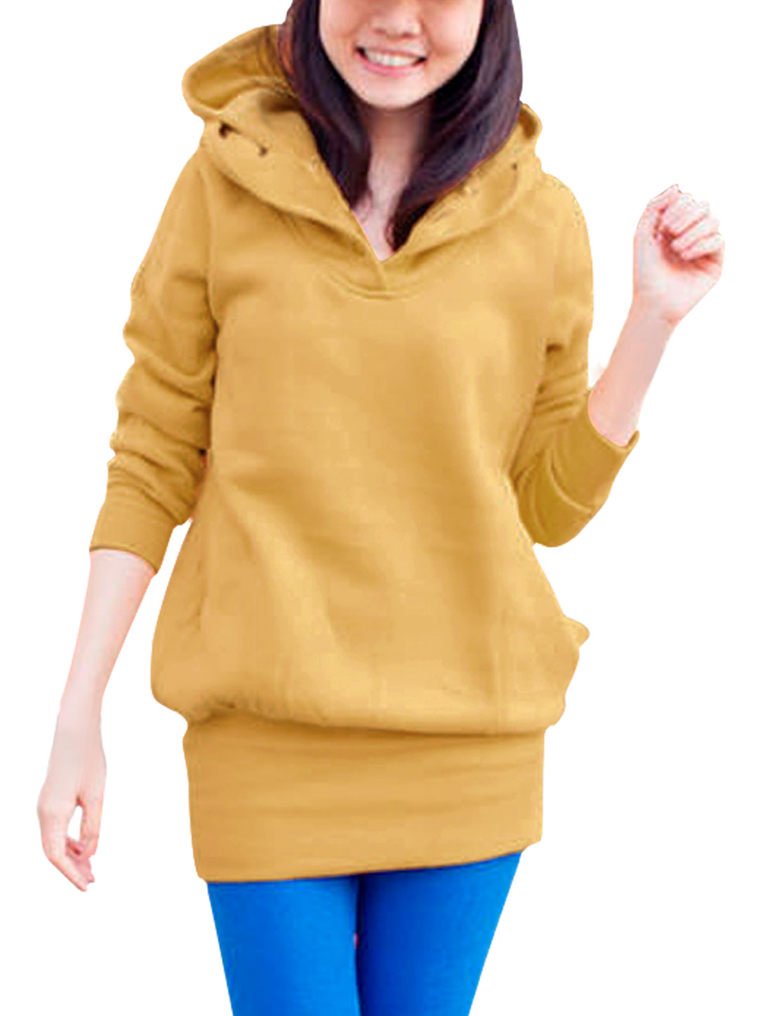 Ladies Yellow Long Sleeves Two Layers Hooded Fleece Inside Hoodie S