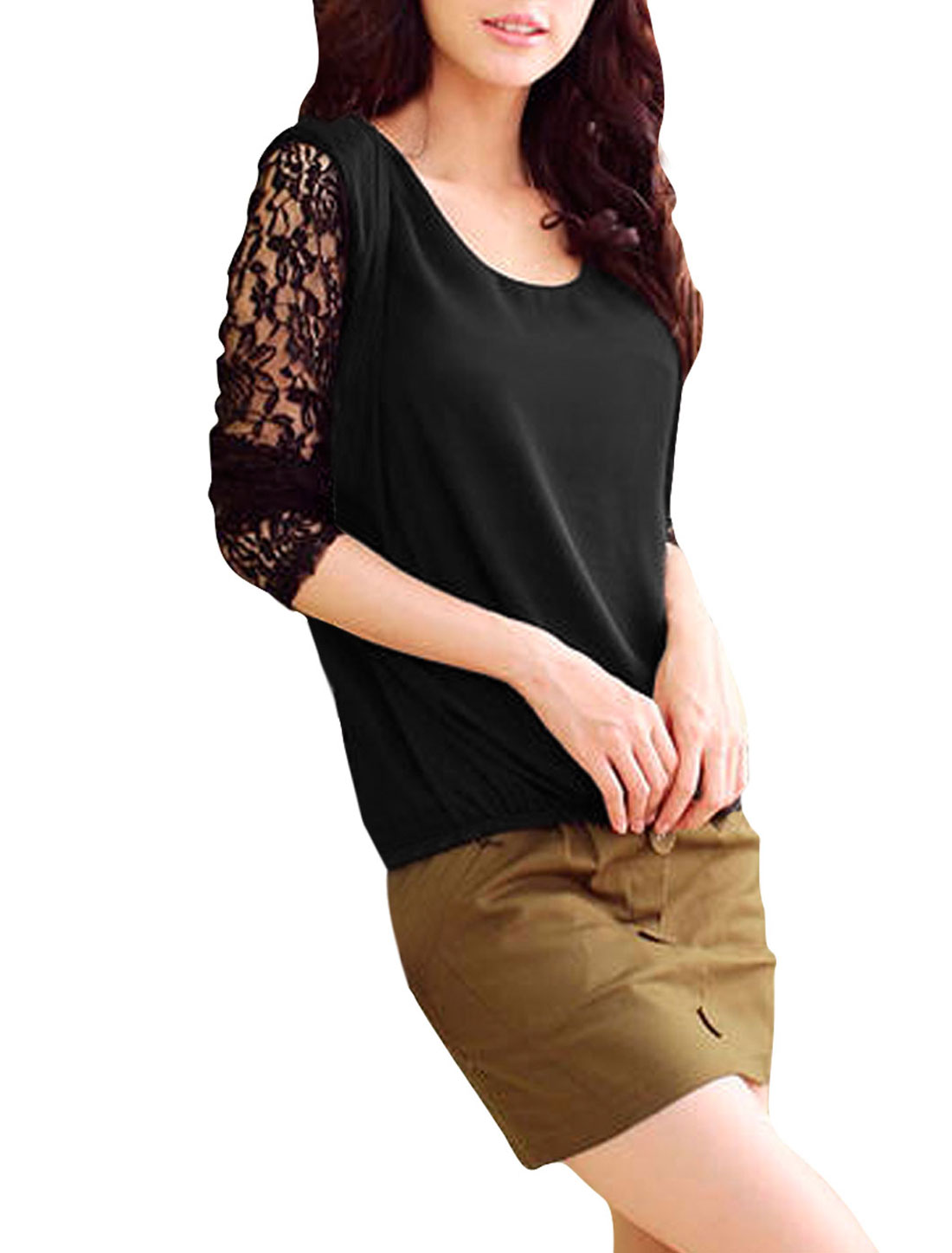 Ladies Black Long Sleeves Pullover Fashional Cut Out Back Shirt XS