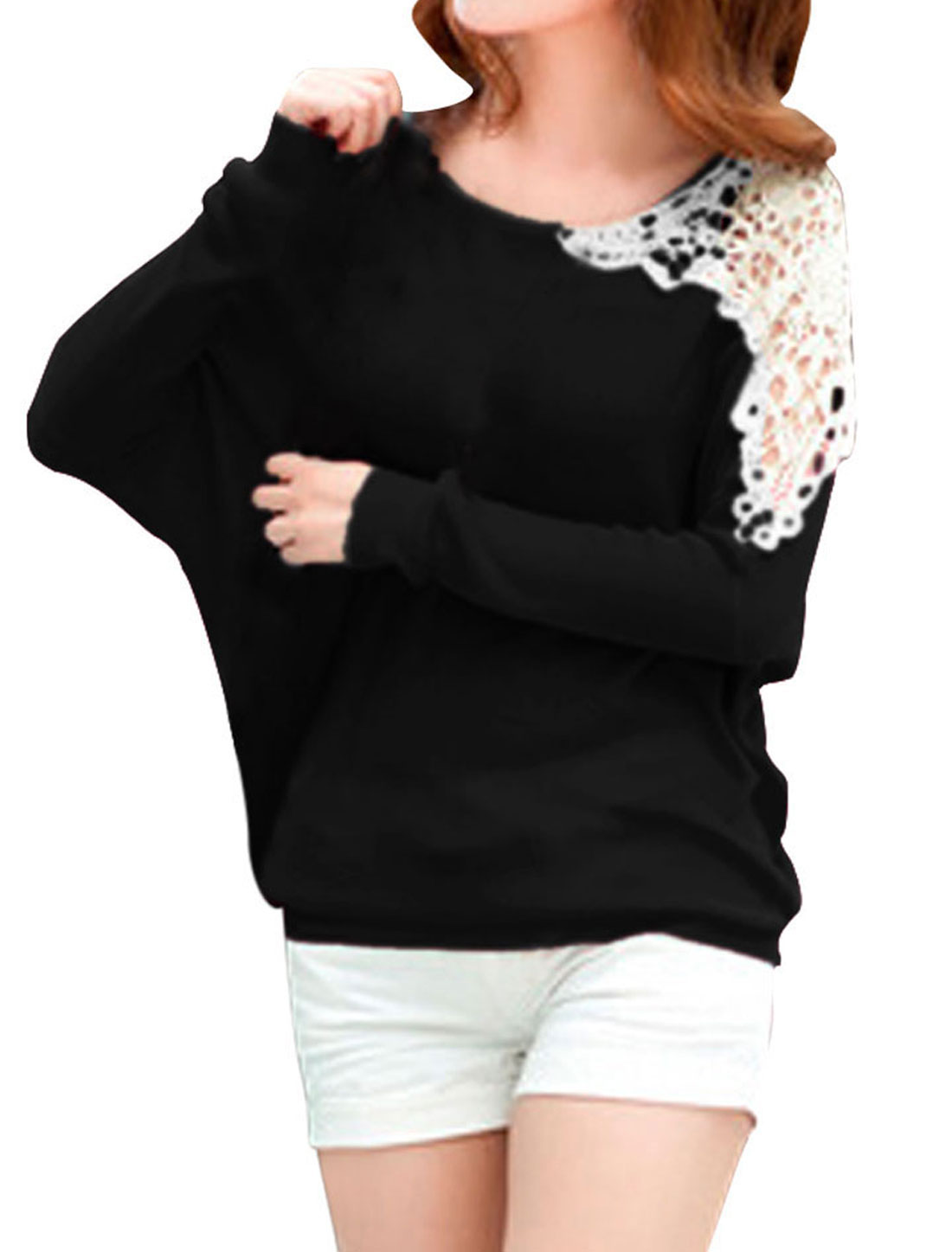 Ladies Black Batwing Sleeves Pullover Casual Autumn Knitting Shirt XS