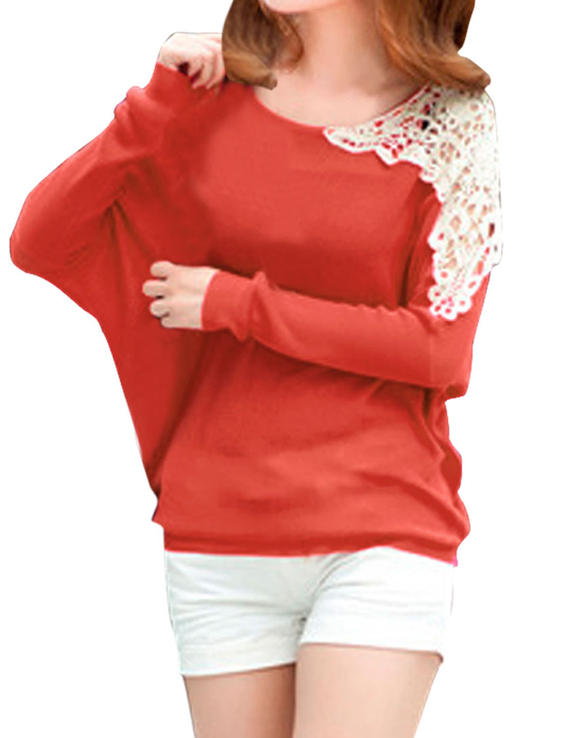 Ladies Orange Batwing Sleeves Casual Pullover Loose Fashional Shirt XS