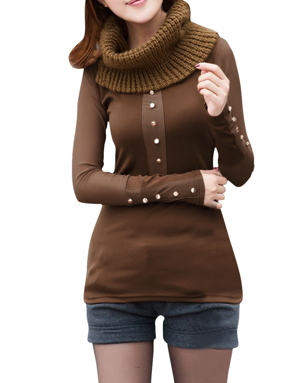 Ladies Brown Simple Design Pullover Round Neck Casual Tops XS