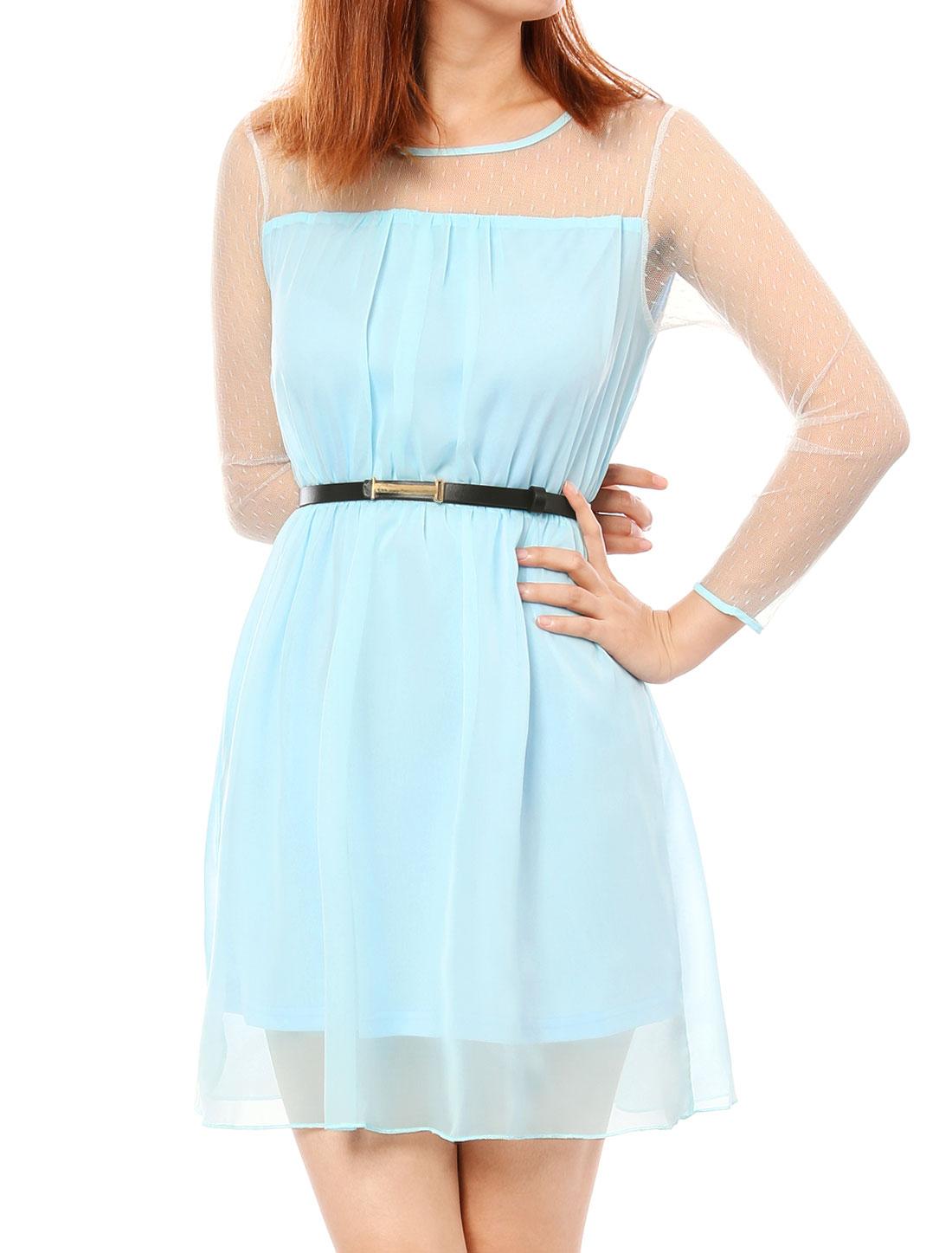 Ladies Light Blue Round Neck Waist Belt Long Sleeves Dress XS