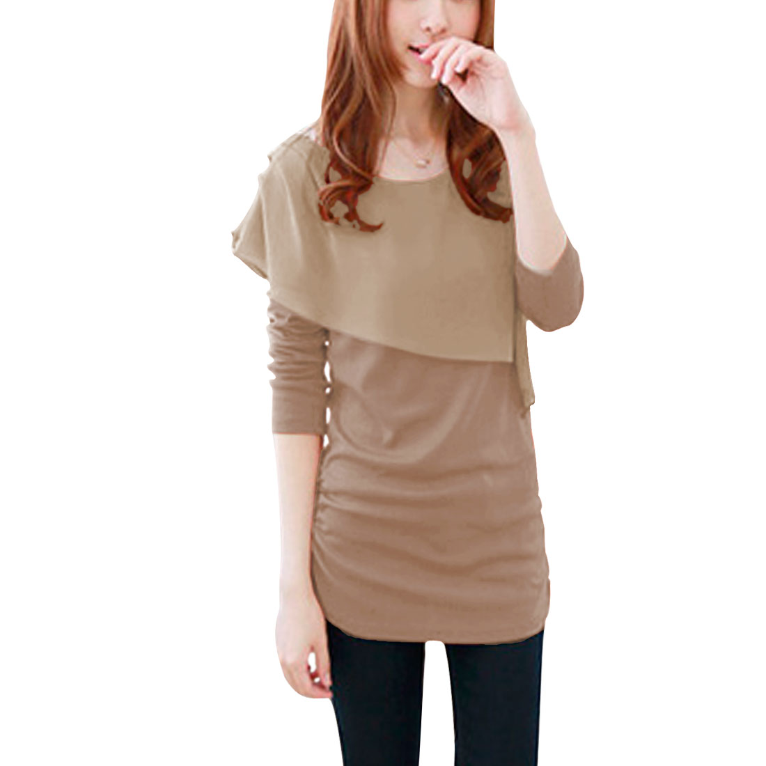 Lady Khaki Stretchy Pullover Chiffon Splice Long Sleeve Tunic Shirt XS