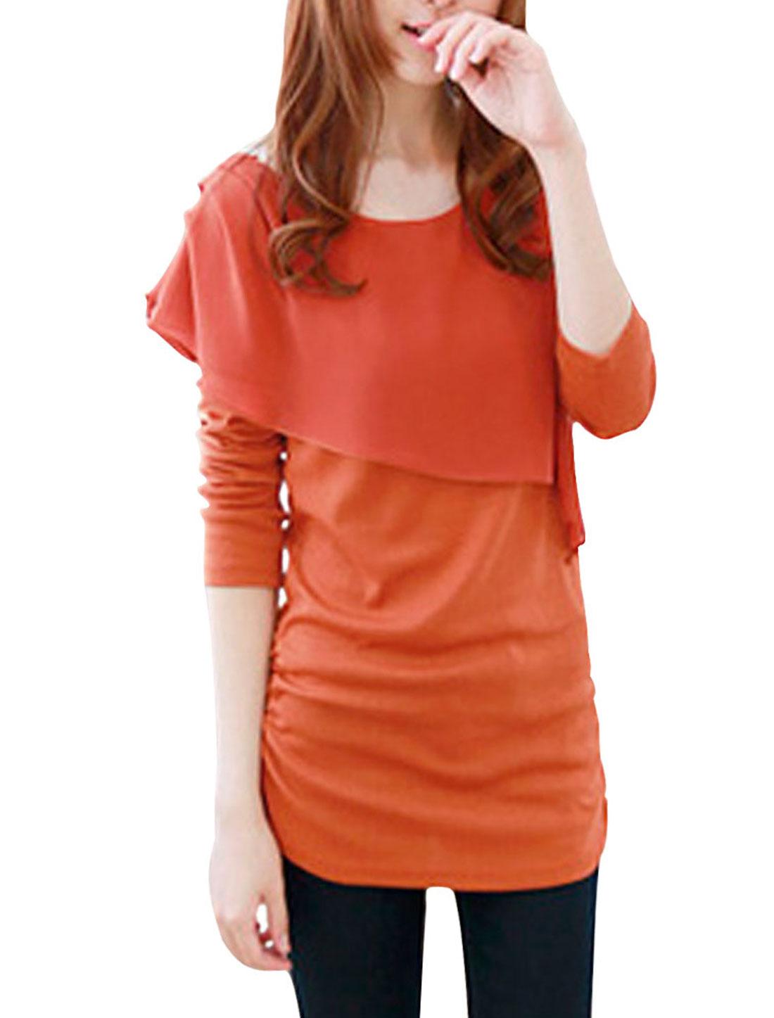 Ladies Orange Scoop Neck Ruched Detail Side Elastic Tunic ShirtXS