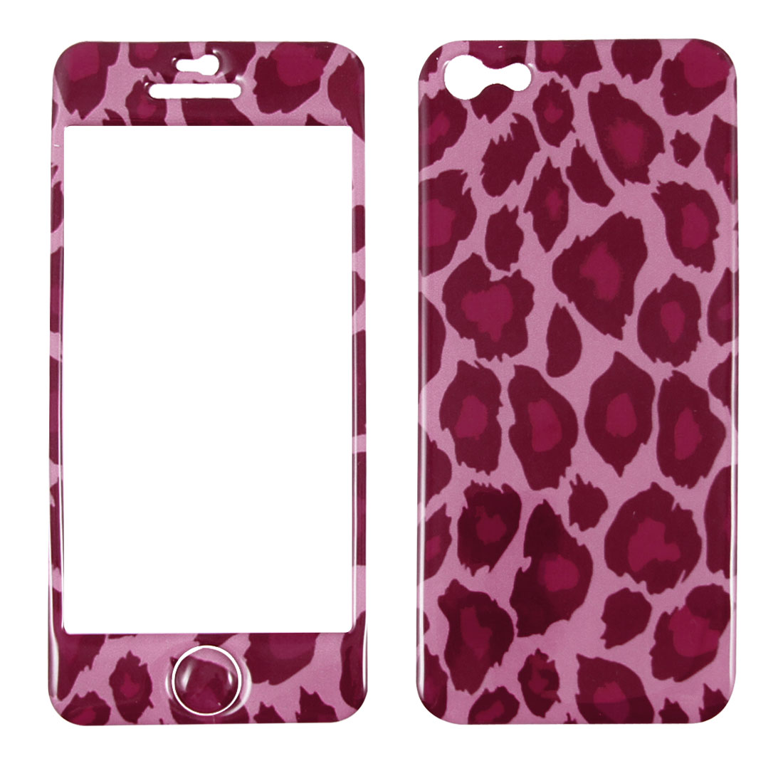 Fuchsia Leopard Print Front Back Sticker Decal Skin Protector for iPhone 5 5G