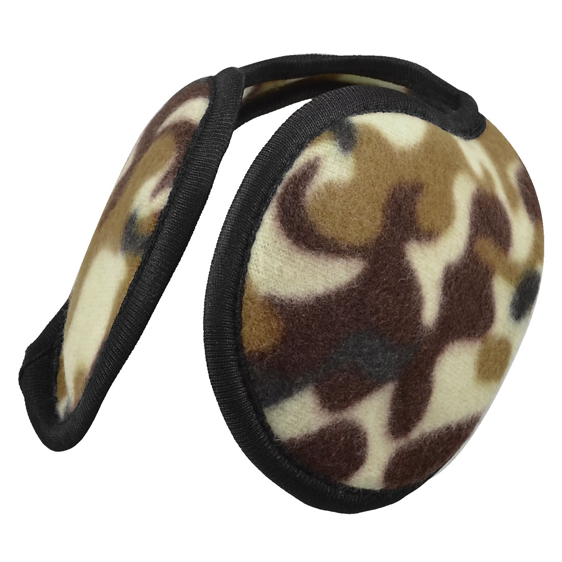 Unisex Brown Beige Camouflage Pattern Winter Back Wear Ear Warmers Earmuffs
