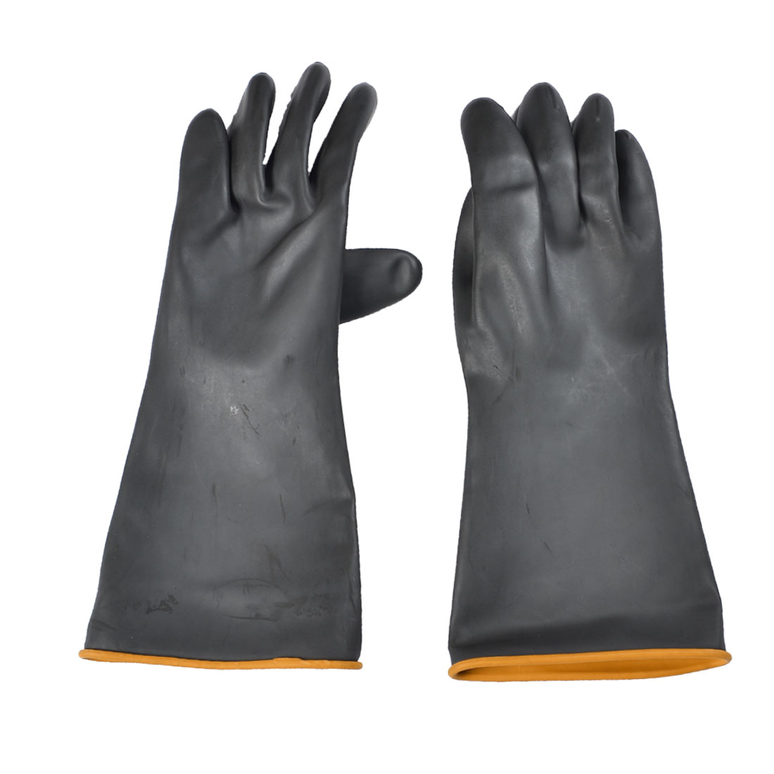 "Pair Chemical Industry Anti Acid Alkali Black Working Gloves 13.4"" Length"