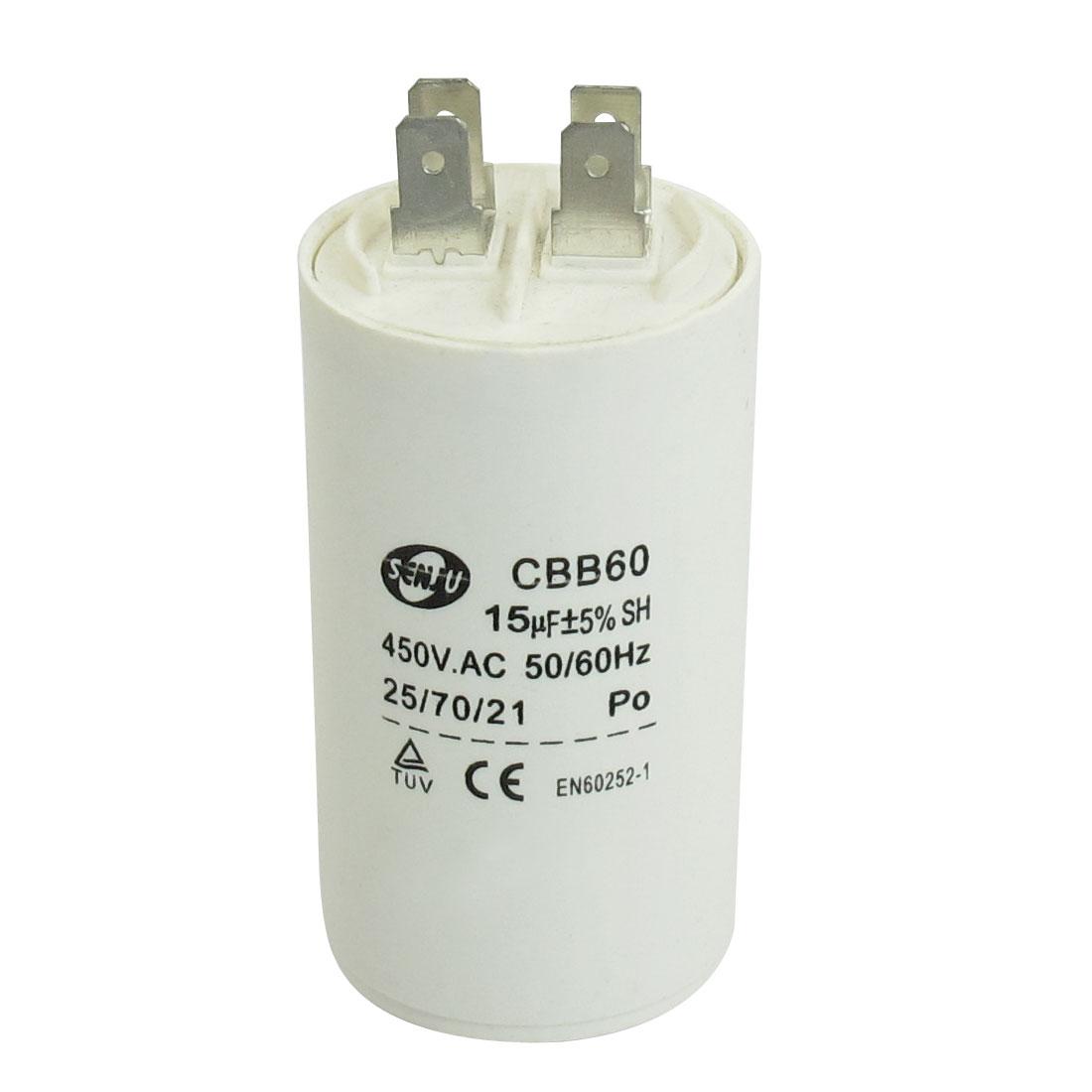 CBB60 Cylinder Shaped 450V AC Nonpolar Motor Running Capacitor 15uF