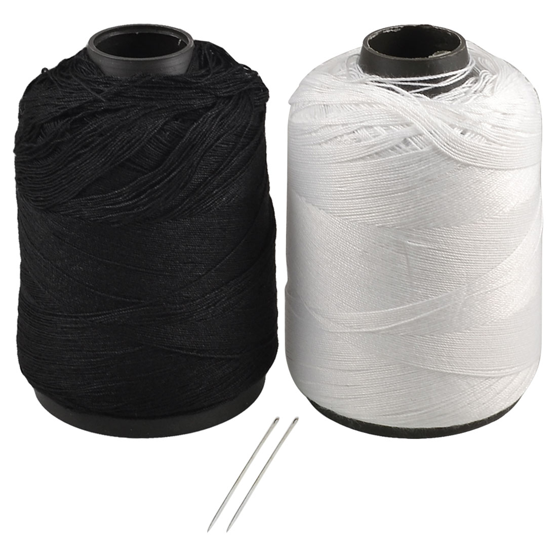 Home White Black Cotton Stitching Sewing Thread Reel Line String 2 Pcs