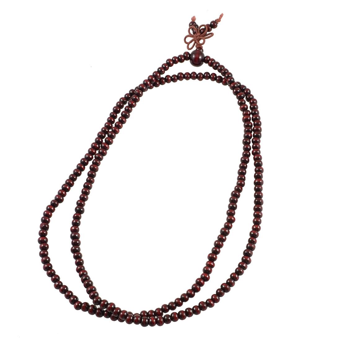 Multifunction Dark Brown Round Wood Beads Elastic Sandalwood Bracelet Necklace