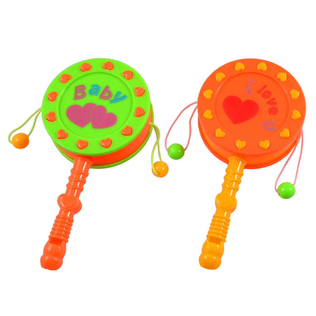 Babies Green Orange Plastic Nonslip Handle Rattle Drum Playing Toy 2 Pcs