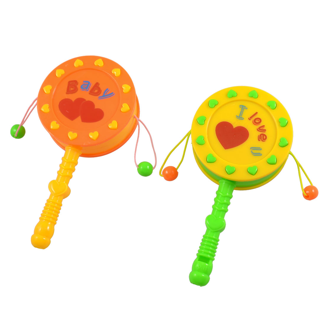 Babies Yellow Orange Plastic Nonslip Handle Rattle Drum Play Toy 2 Pcs
