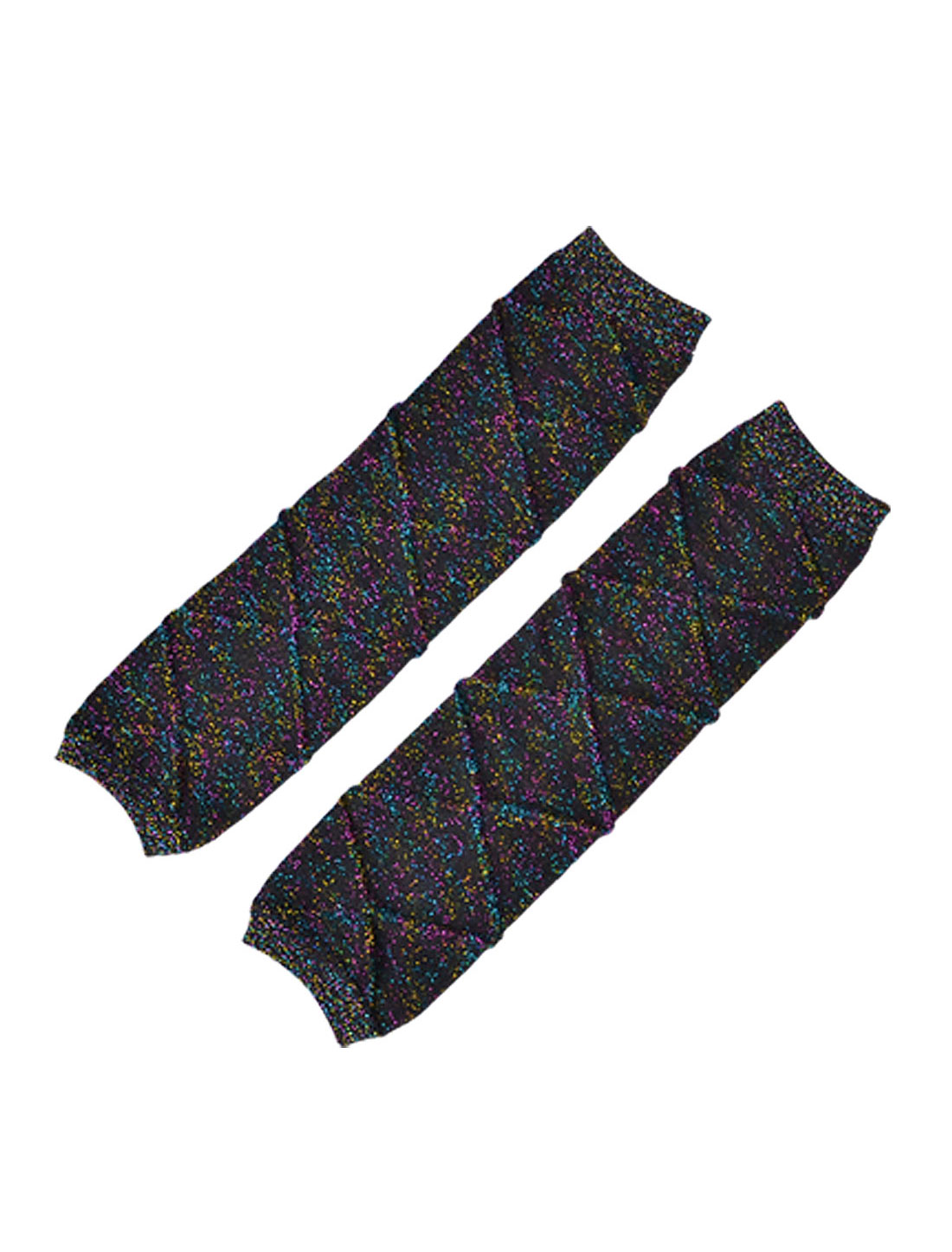 Pair Multicolored Metallic Line Decor Stretch Brown Leg Warmers for Women