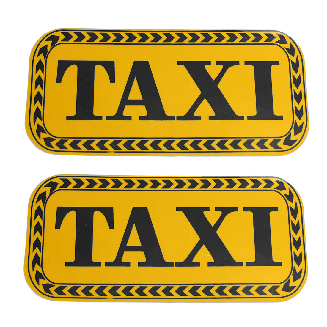 2 Pcs Yellow Black Vinyl TAXI Pattern Decorating Car Sticker Decor