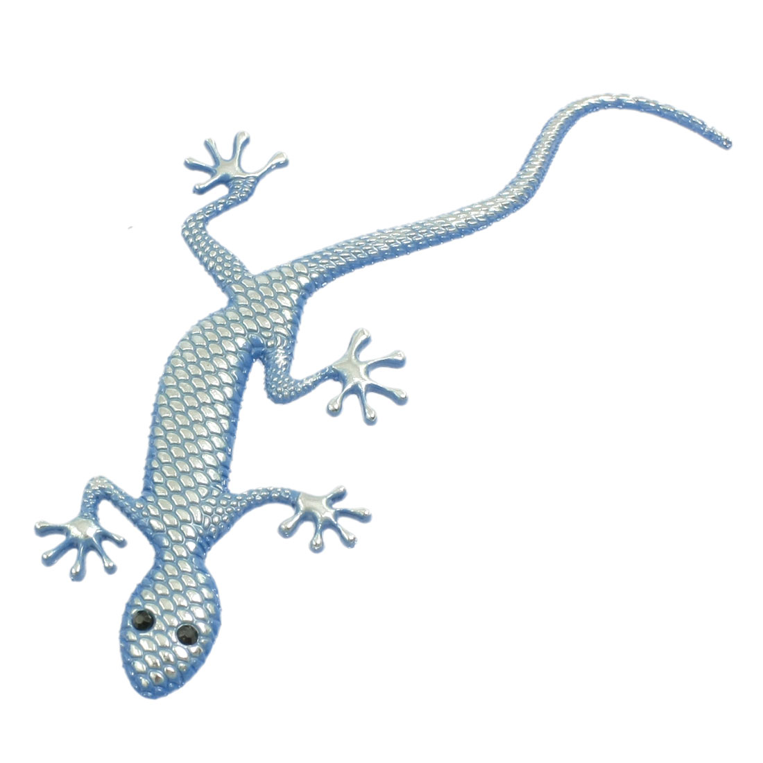 Blue Metal Gecko Pattern Auto Car Badge Sticker Emblem Decor