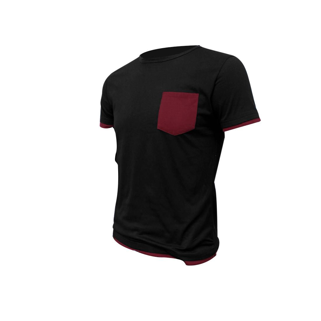Mens Black Summer New Thin Pullover Basic Short Sleeves Shirt S
