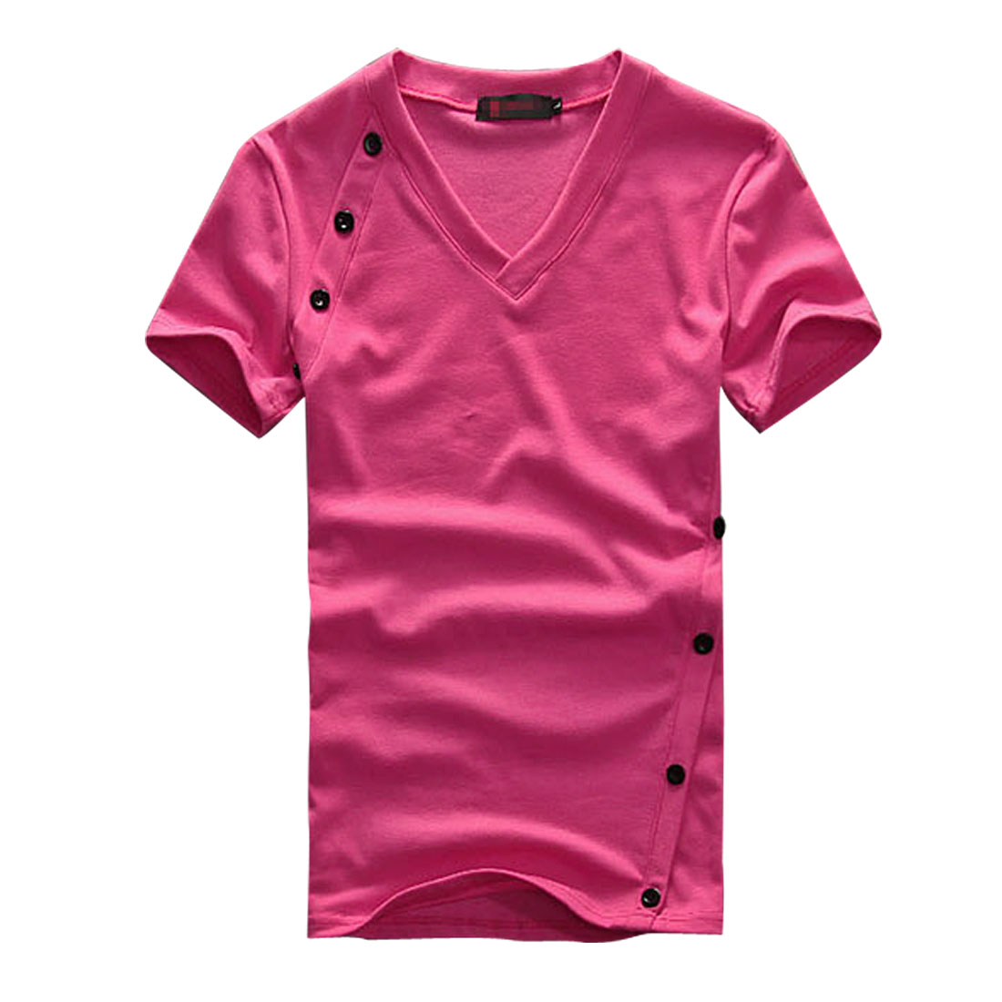 Men Fuchsia Stylish Summer New Buttons Decor Front Shirt Top S