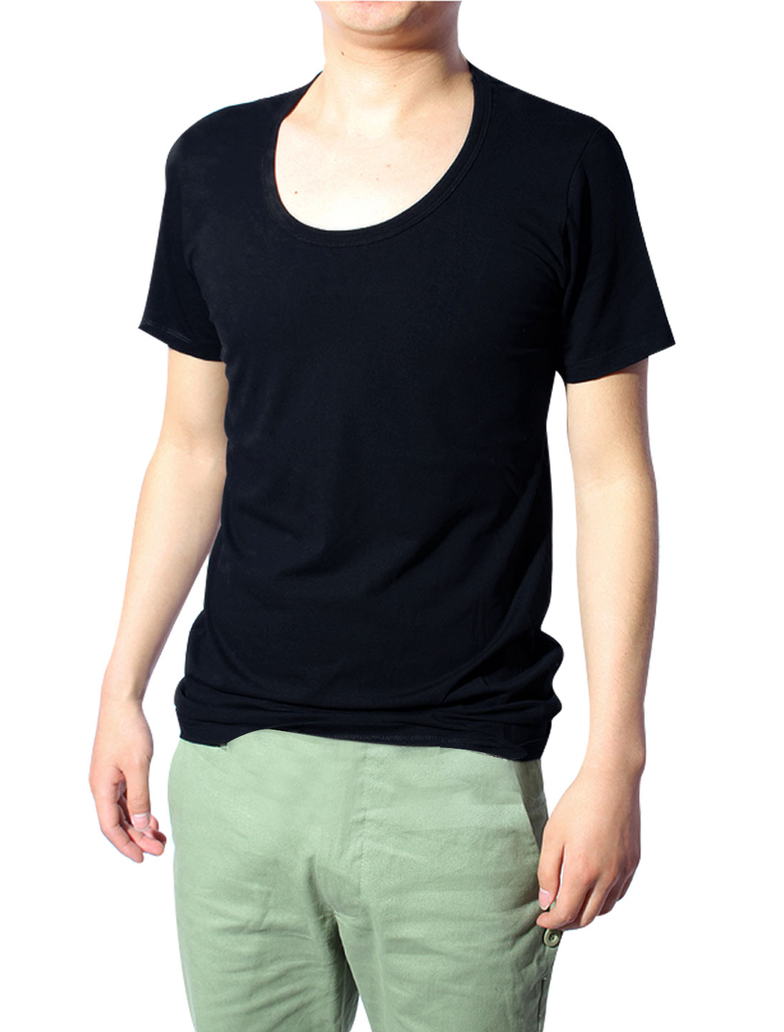 Mens Dark Blue Short Sleeve Fashion Cozy Primer Shirt S