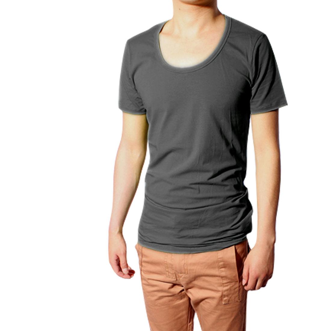 Korea Stylish Scoop Neck Mens Dark Gray Stretch Primer Shirt S