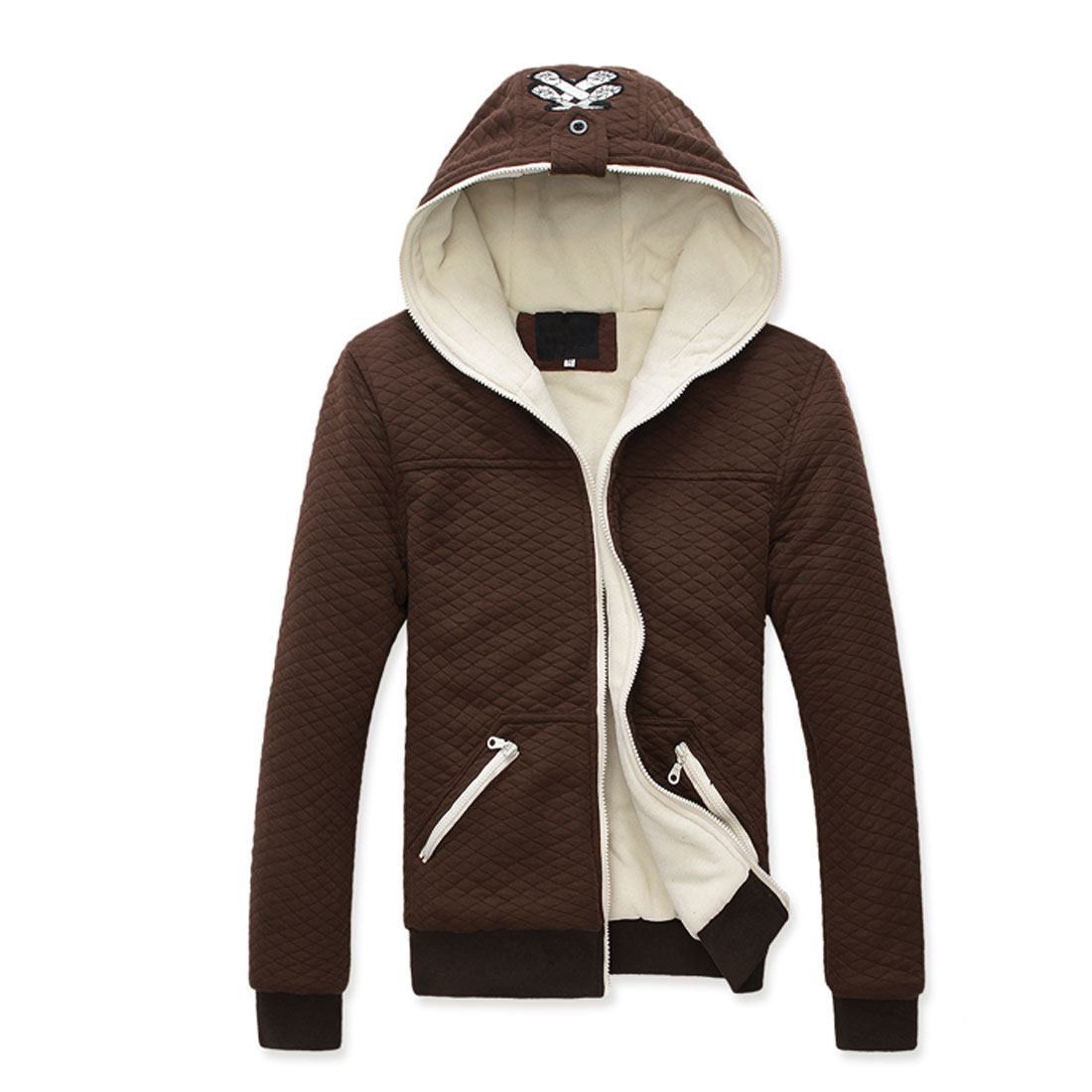 Men Coffee Color Convertible Collar Zip Up Winter Padded Coat M