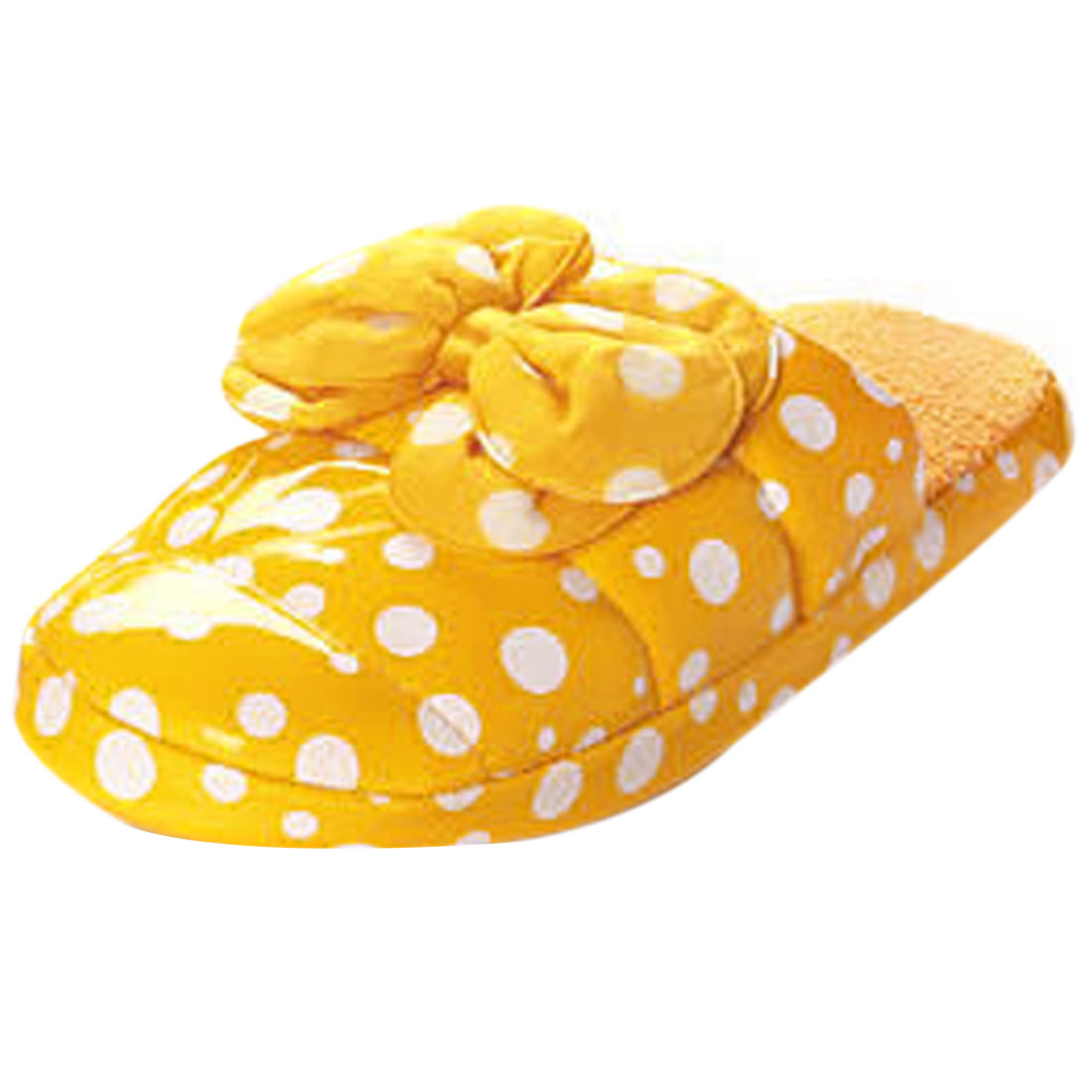 Ladies Yellow Bow Knot Decor Dots Printed Sweety Indoor Slipper Us Size 7
