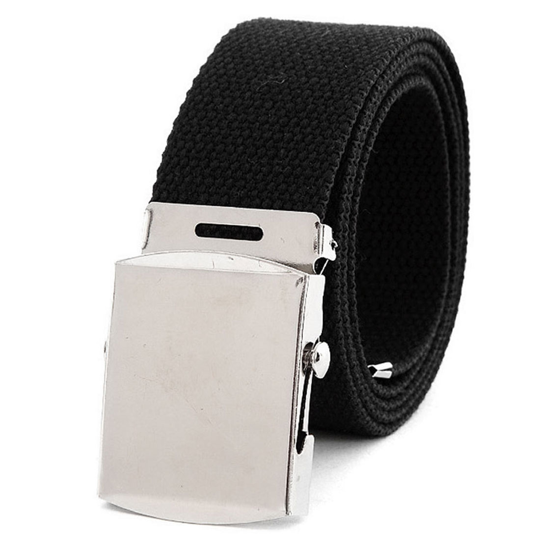 "Men Women Black Metal Slide Buckle Rectangle Fully Adjustable 1 3/8"" Width Cavas Belt"