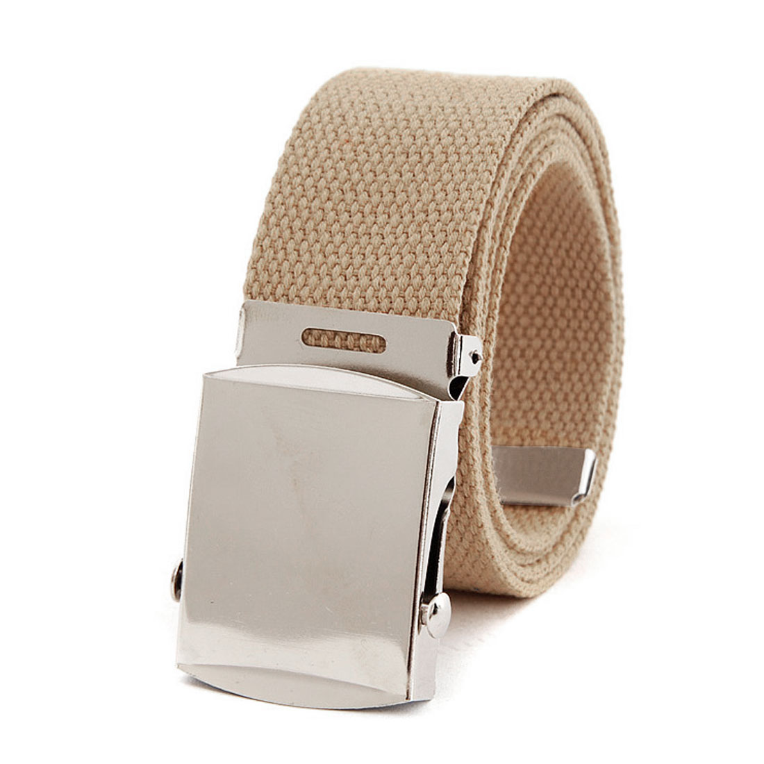 Men Women Khaki Color Metallic Buckle Fastening Woven Cavas Waist Belt