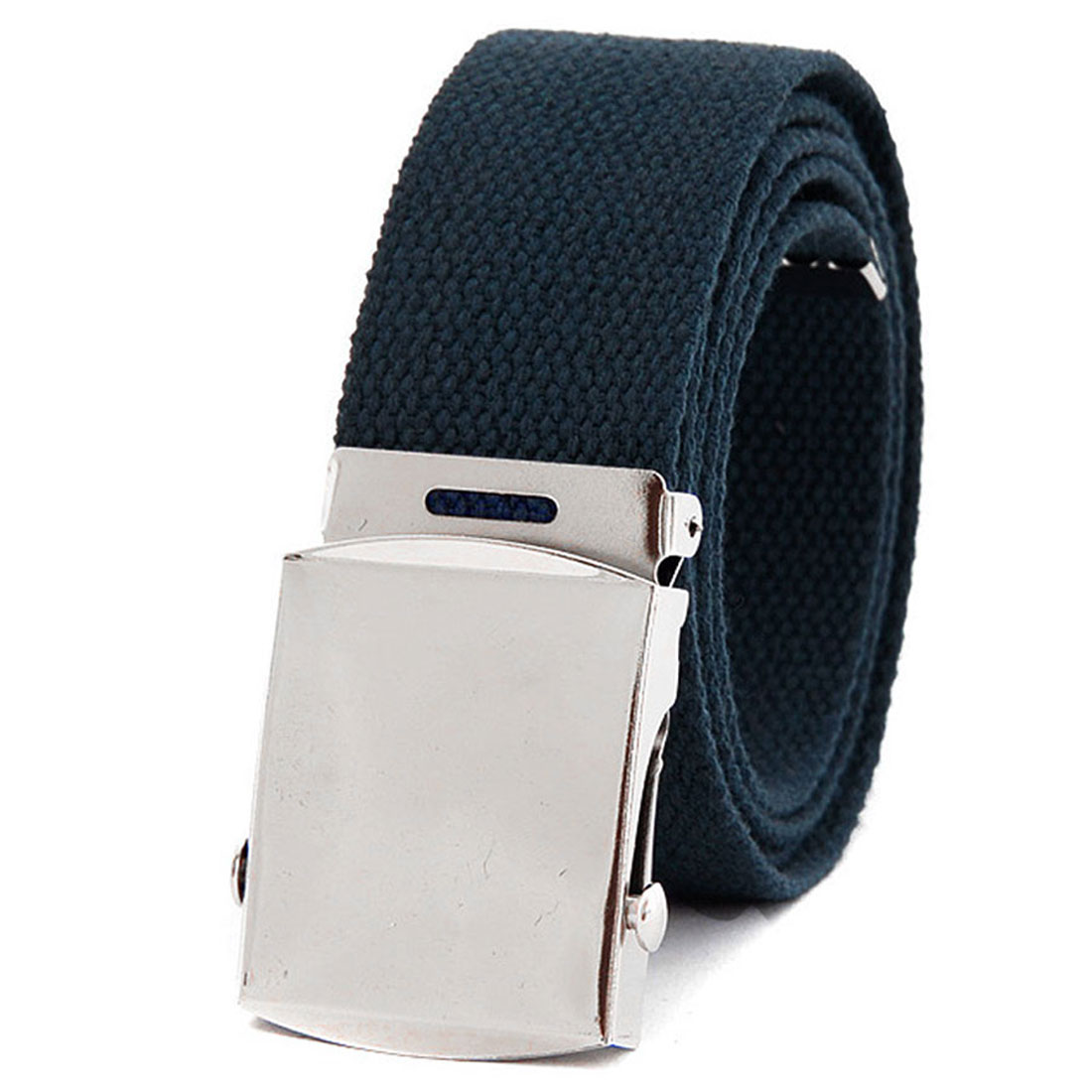 "Unisex Dark Gray Woven 1 3/8"" Width Metal Buckle Cavas Simple Waist Belt"
