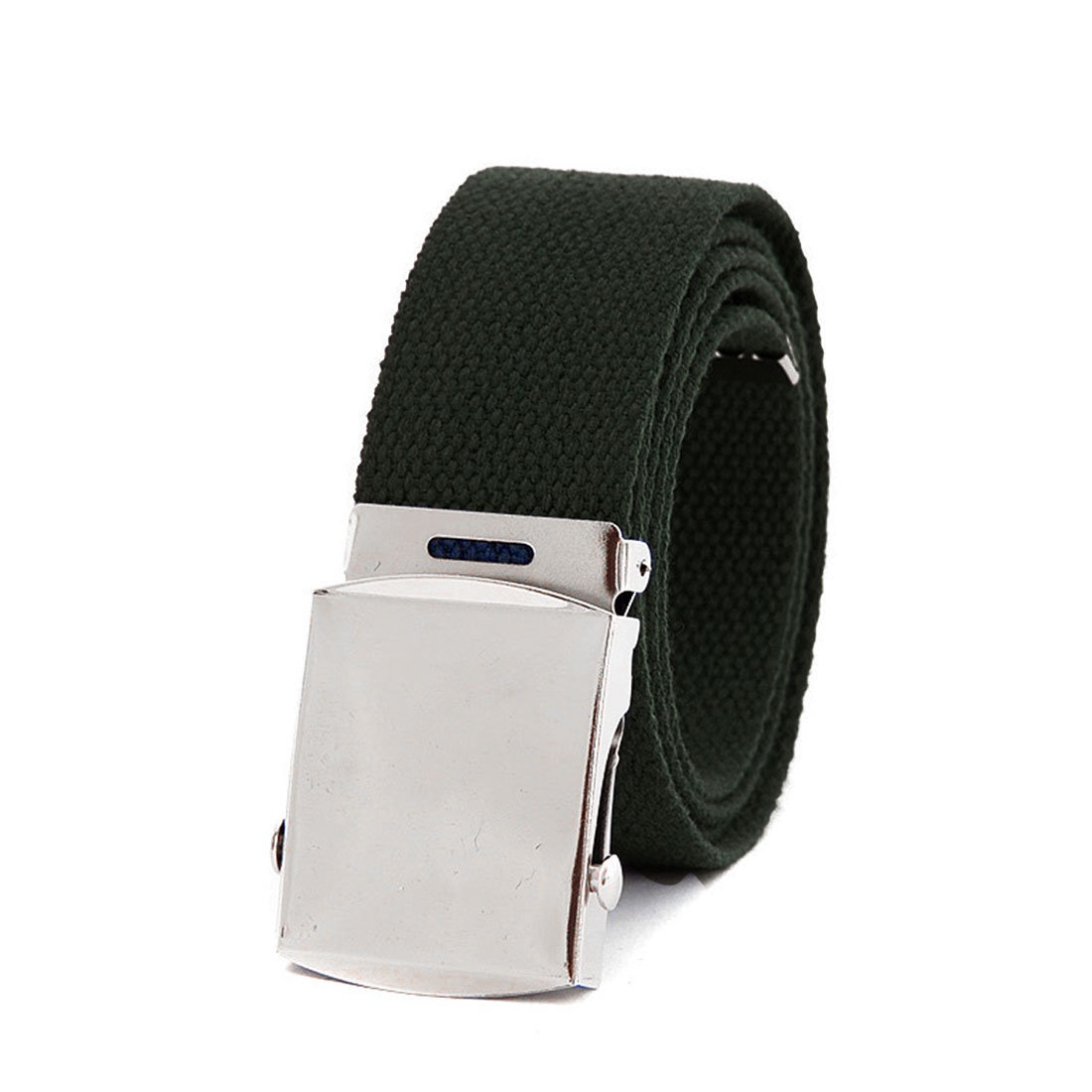 Unisex Olive Green Metal Accent Slide Buckle Solid Color Woven Waist Belt