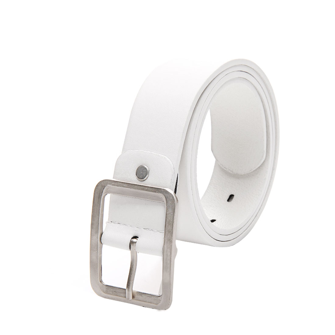 Women Men White Adjustable Design Single Metal Pin Buckle Accent Waist Belt