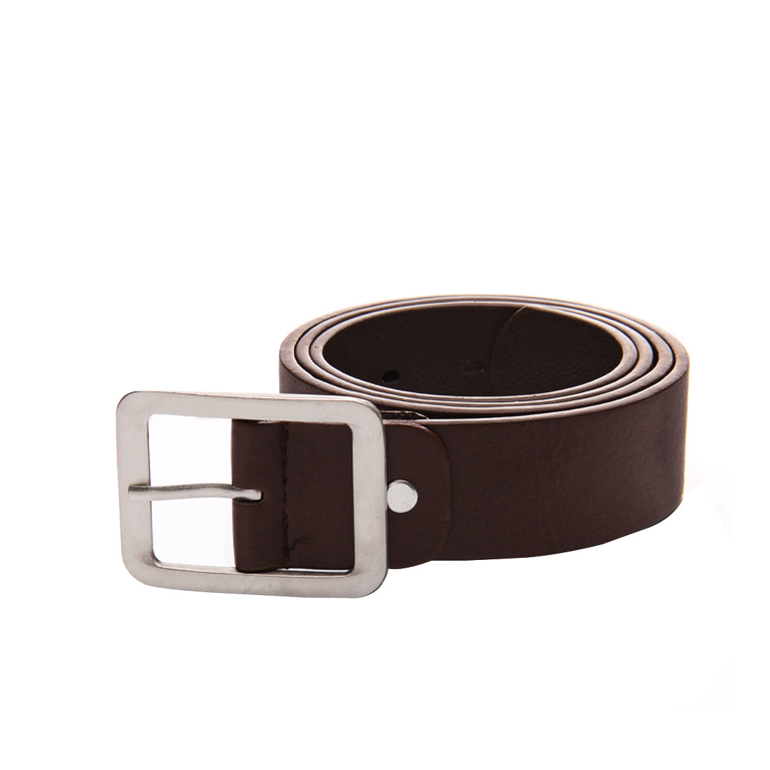 Unisex Coffee Color Faux Leather Adjustable Single Pin Buckle Belt Band