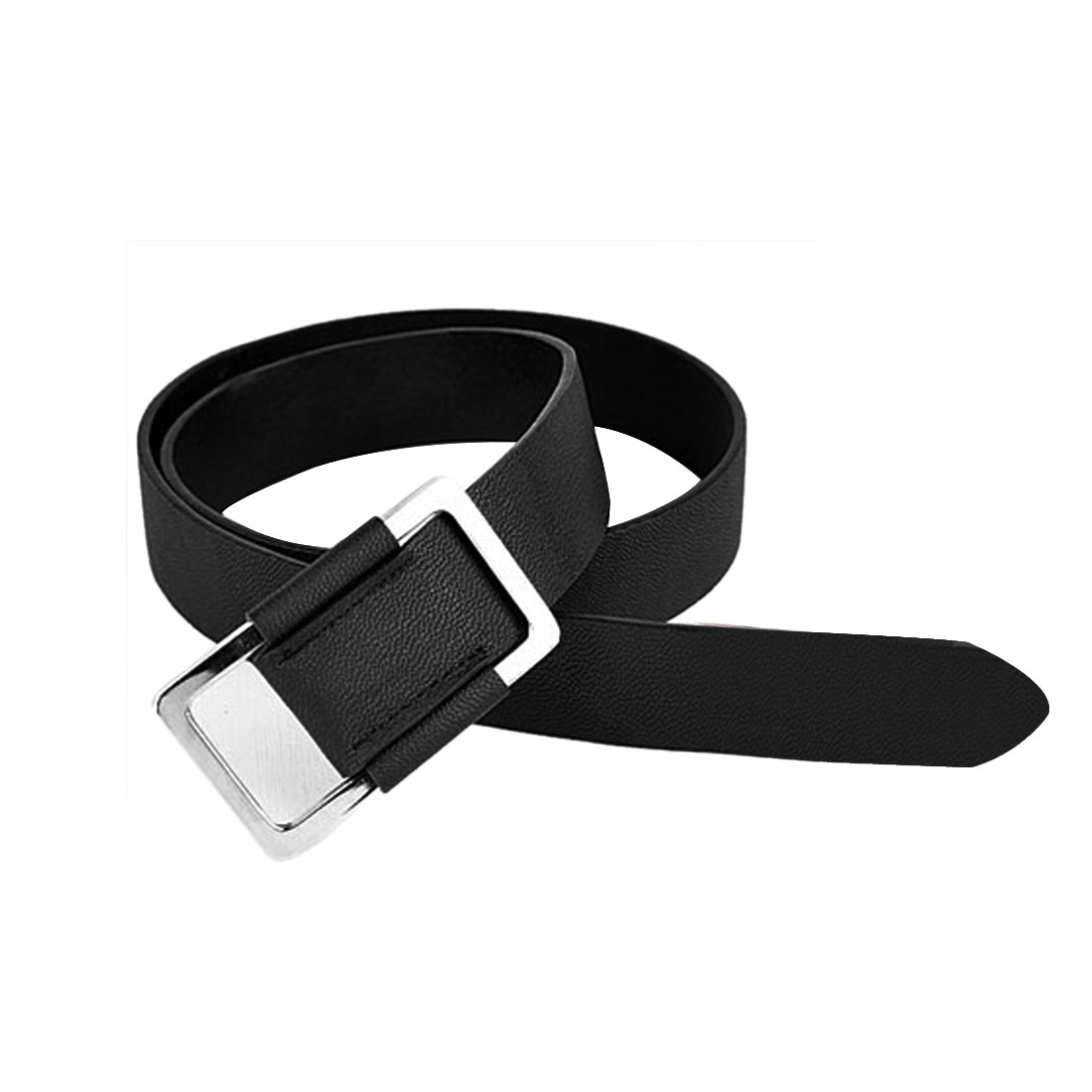 Men Women Black Rectangle Metal Buckle Faux Leather Simple Stylish Waist Belt