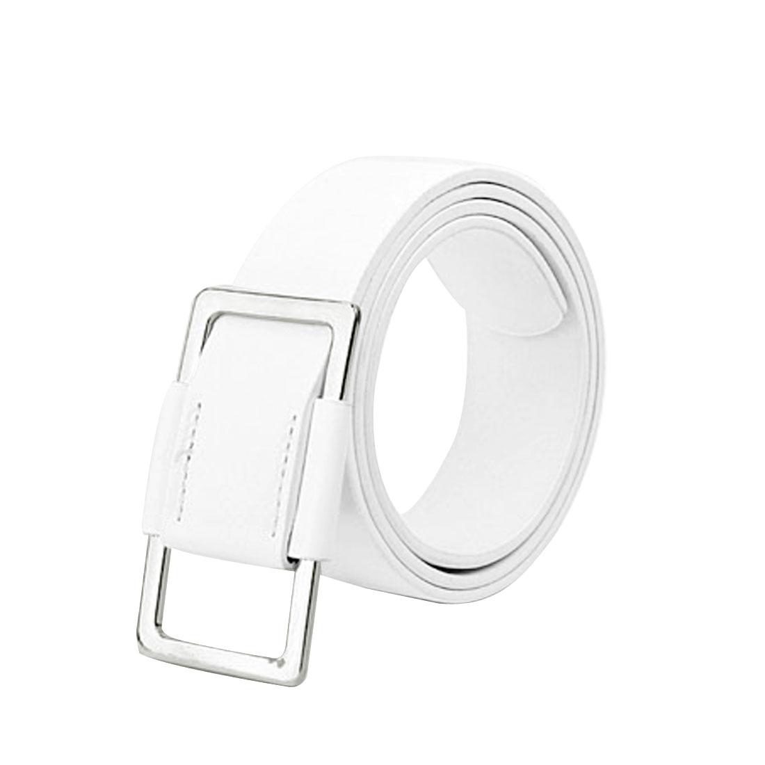 Women Men White Metal Buckle Accent Faux Leather Adjustable Waist Belt