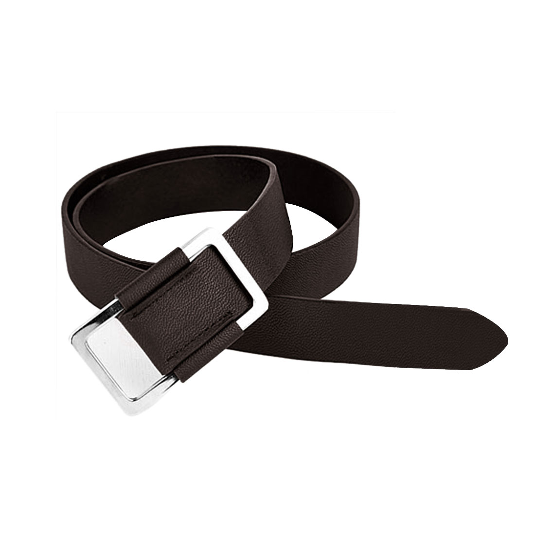 Unisex Coffee Color Rectangle Buckle Faux Leather Asjustable Stylish Belt