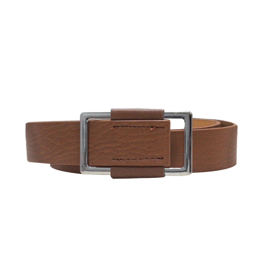 "Men Women Brown Faux Leather 1 1/8"" Width 41 1/2"" Length Stylish Belt Band"