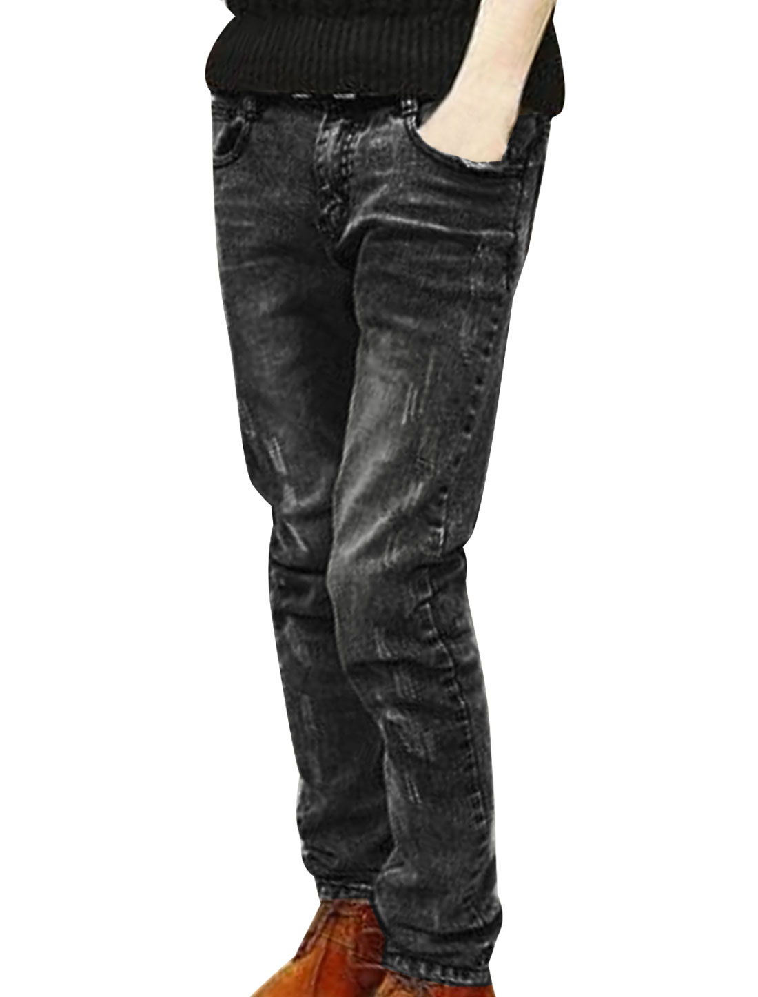 Men Black Zip Fly Snowflake Pattern Back Faded Fashional Pencil Jeans W30