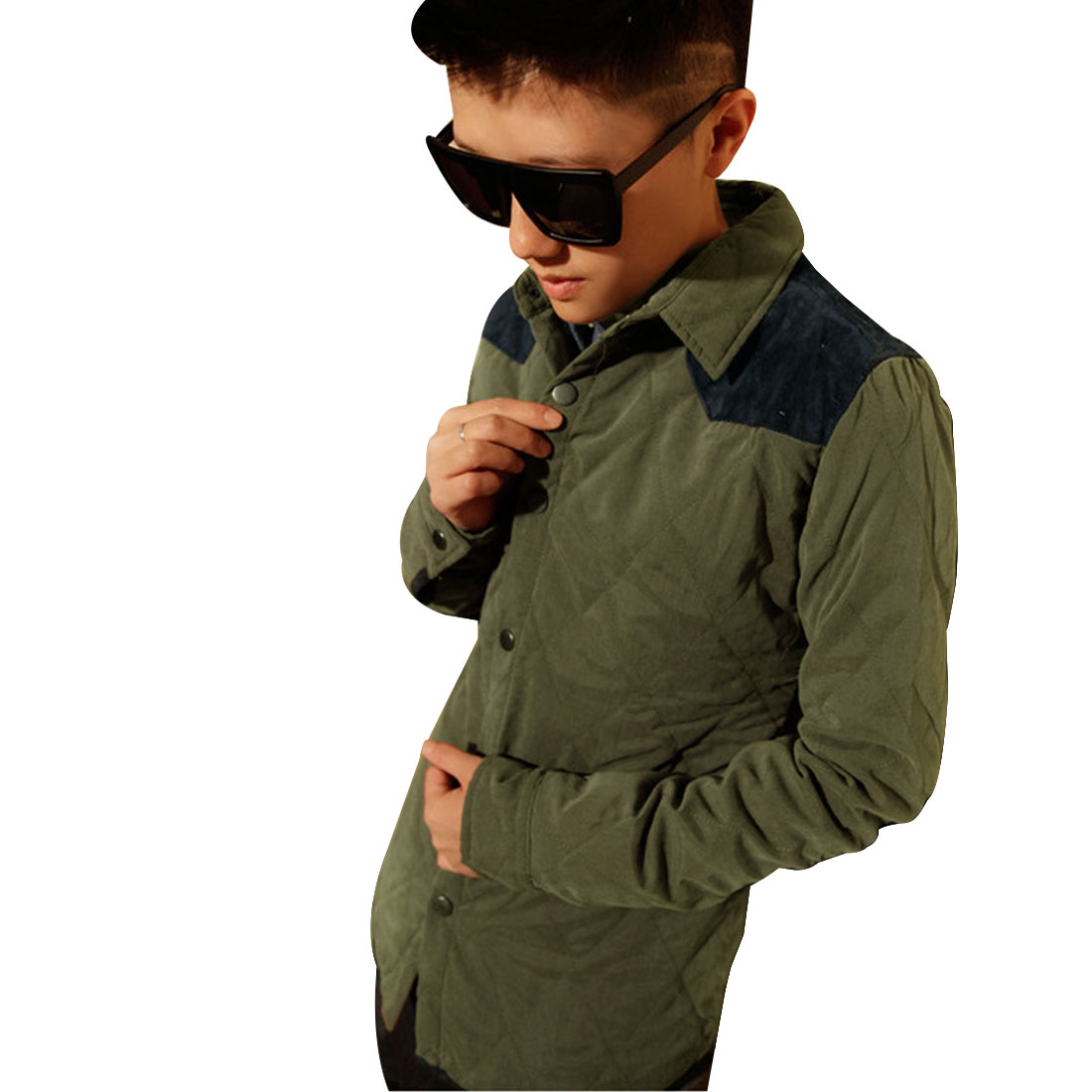Mens Army Green Dark Blue Preppy Style Thin Padded Shirt Jacket S